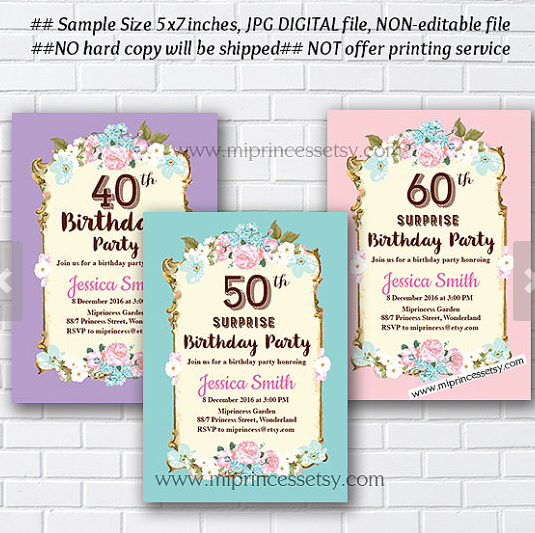 Shabby chic birthday invitation for any age 16th 18th 20th 30th shabby chic birthday invitation for any age 16th 18th 20th 30th 40th 50th 60th 70th 80th 90th vintage card 658 princessmi illustration and graphic filmwisefo
