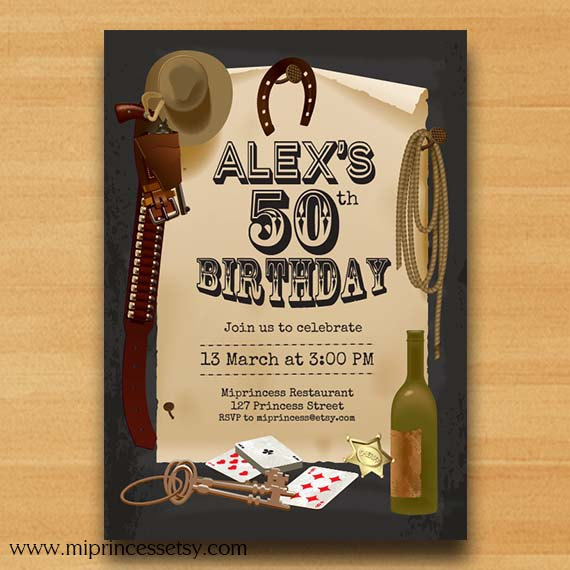 Western Theme Party Cowboy Birthday Invitation For Any Age Vintage Design Or Cowgirl Card