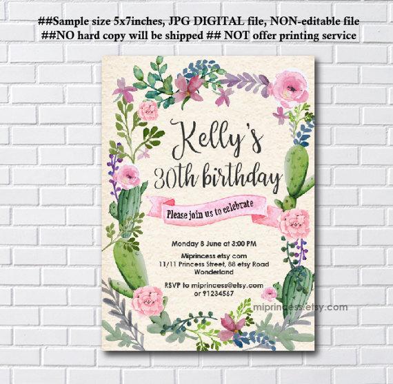 party invitations birthday party invitations watercolor cactus