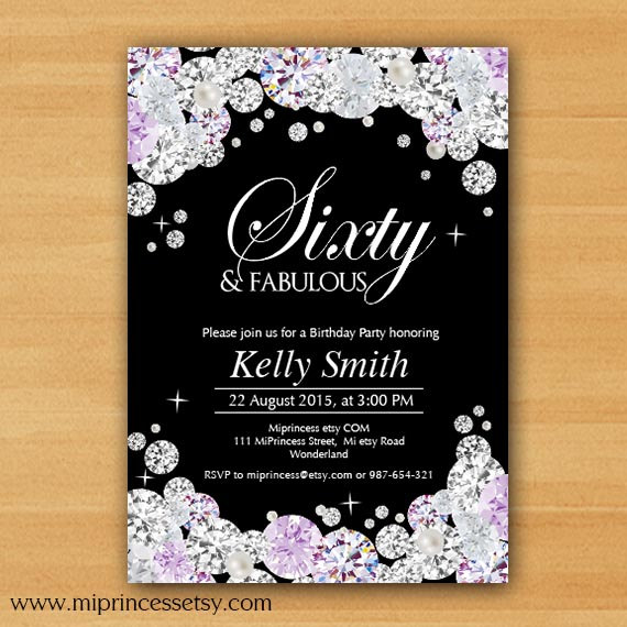 Black Invitation Glam Birthday Invitation Rhinestone