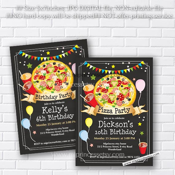 pizza birthday invitation chalkboard kids pizza party surprise