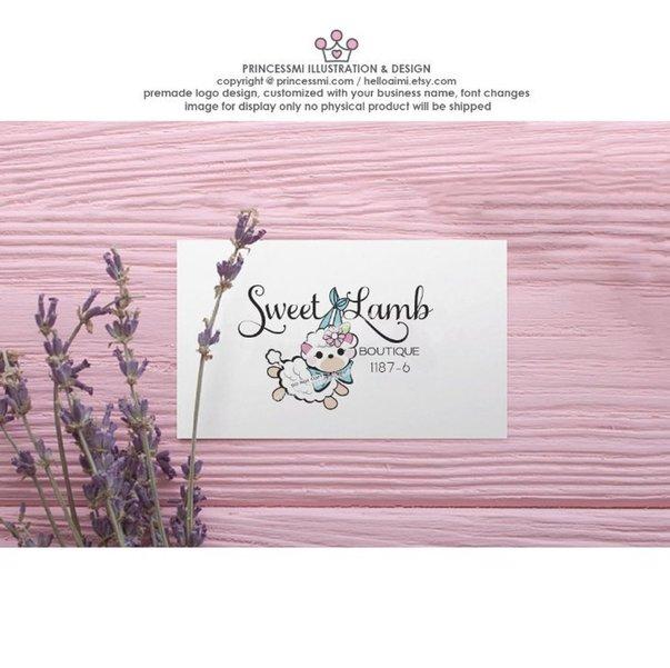 1187 6 Logo Design Lamb Sheep Hand Drawn Baby Lamb With Bow Ribbon
