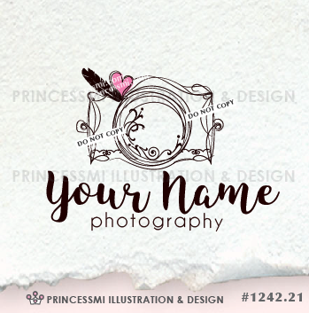 Cute Camera Photography Logo Doodle Template Adorable Illustrated Business Boutique