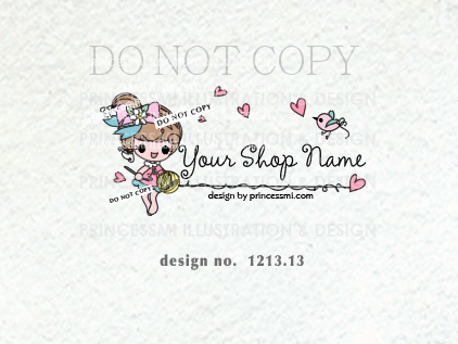 1213 13 Crochet Logo Logo Design Premade Logo Hand Drawn Girl
